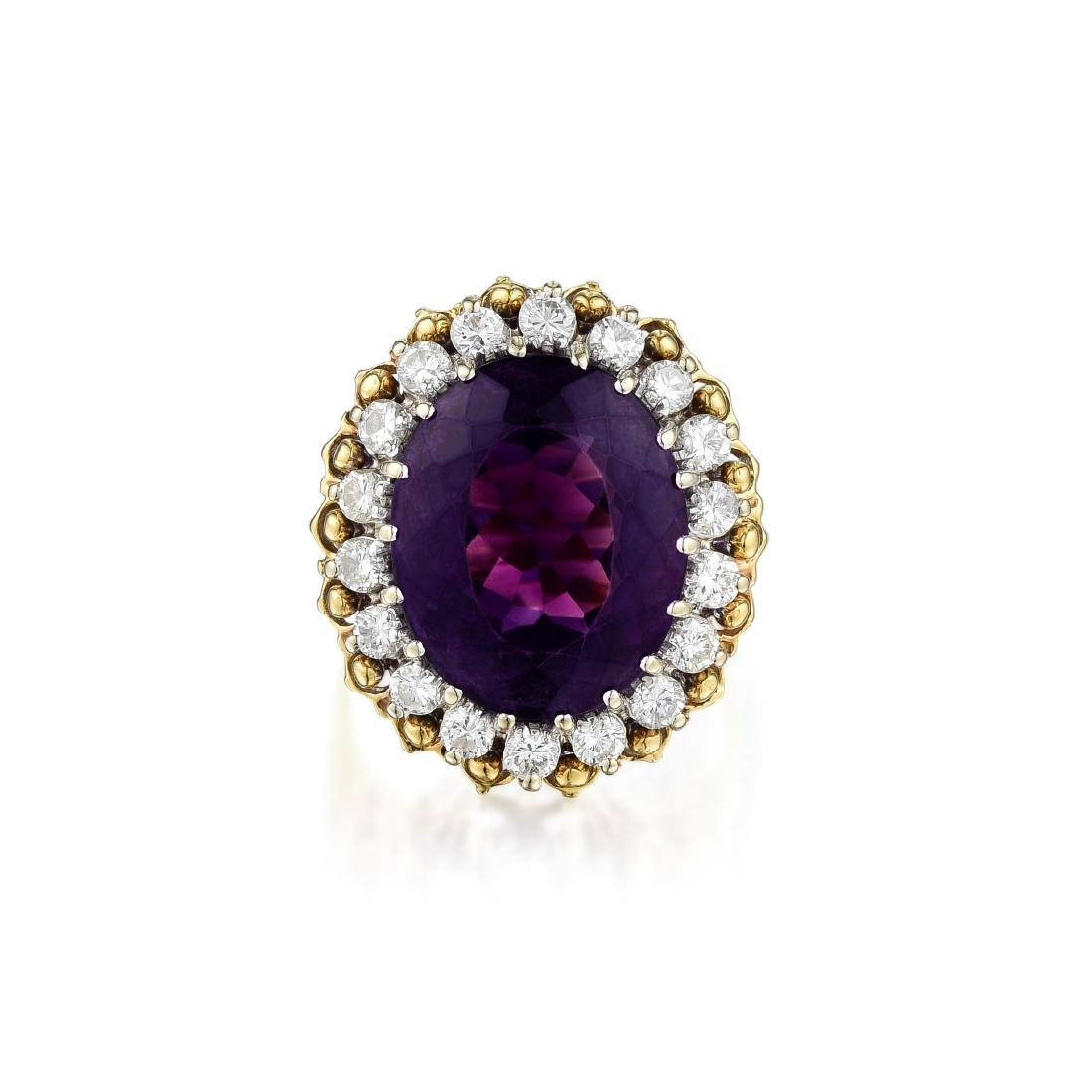 An 18K Gold Amethyst and Diamond Ring