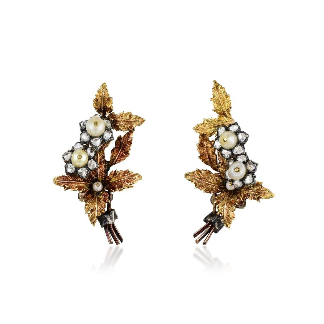 Buccellati Diamond and Pearl Earclips