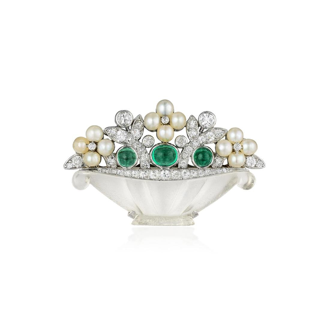 Cartier Art Deco Emerald Diamond Flower Basket Pin