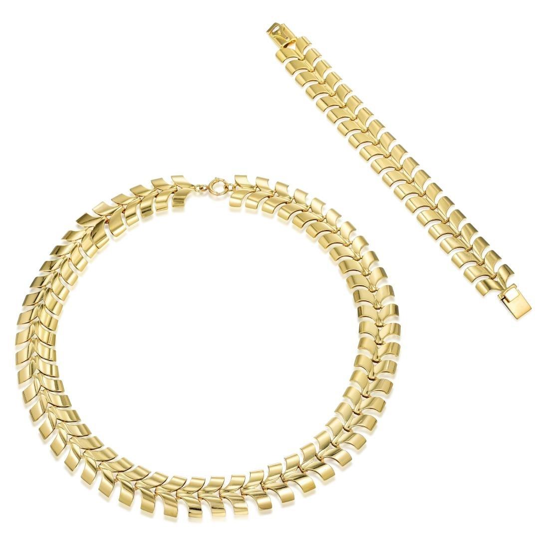 Tiffany & Co. Gold Necklace and Bracelet Set