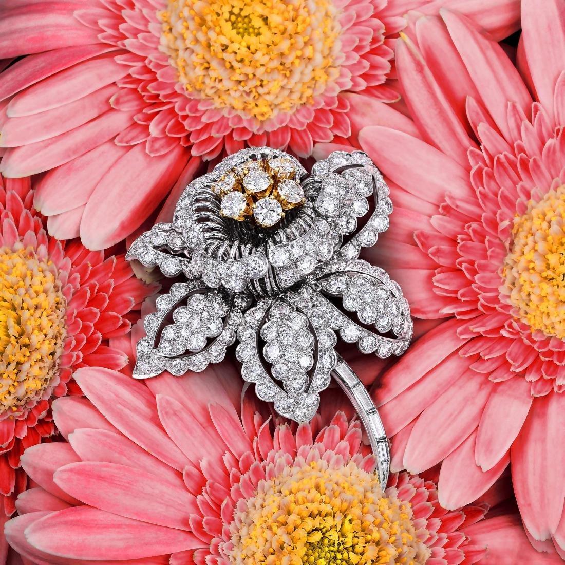 David Webb Diamond Platinum Flower Brooch