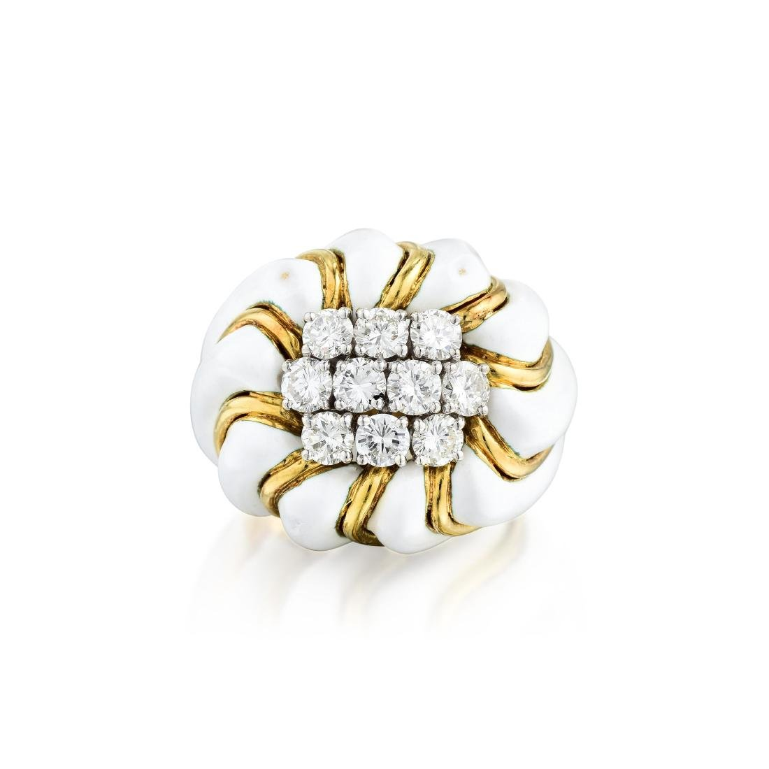 David Webb Diamond and Enamel Ring