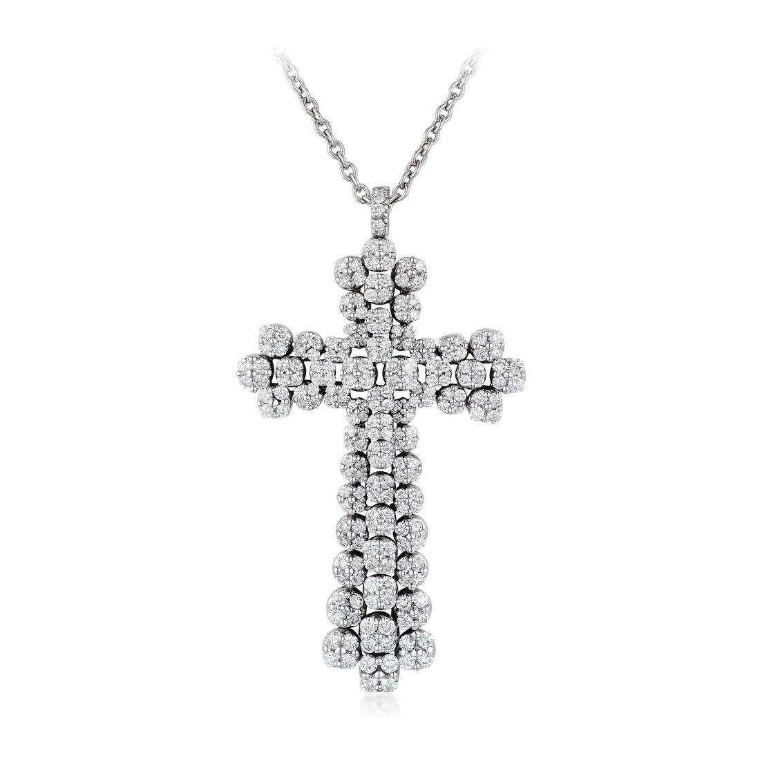 A Large Diamond Cross Pendant Necklace, Italian