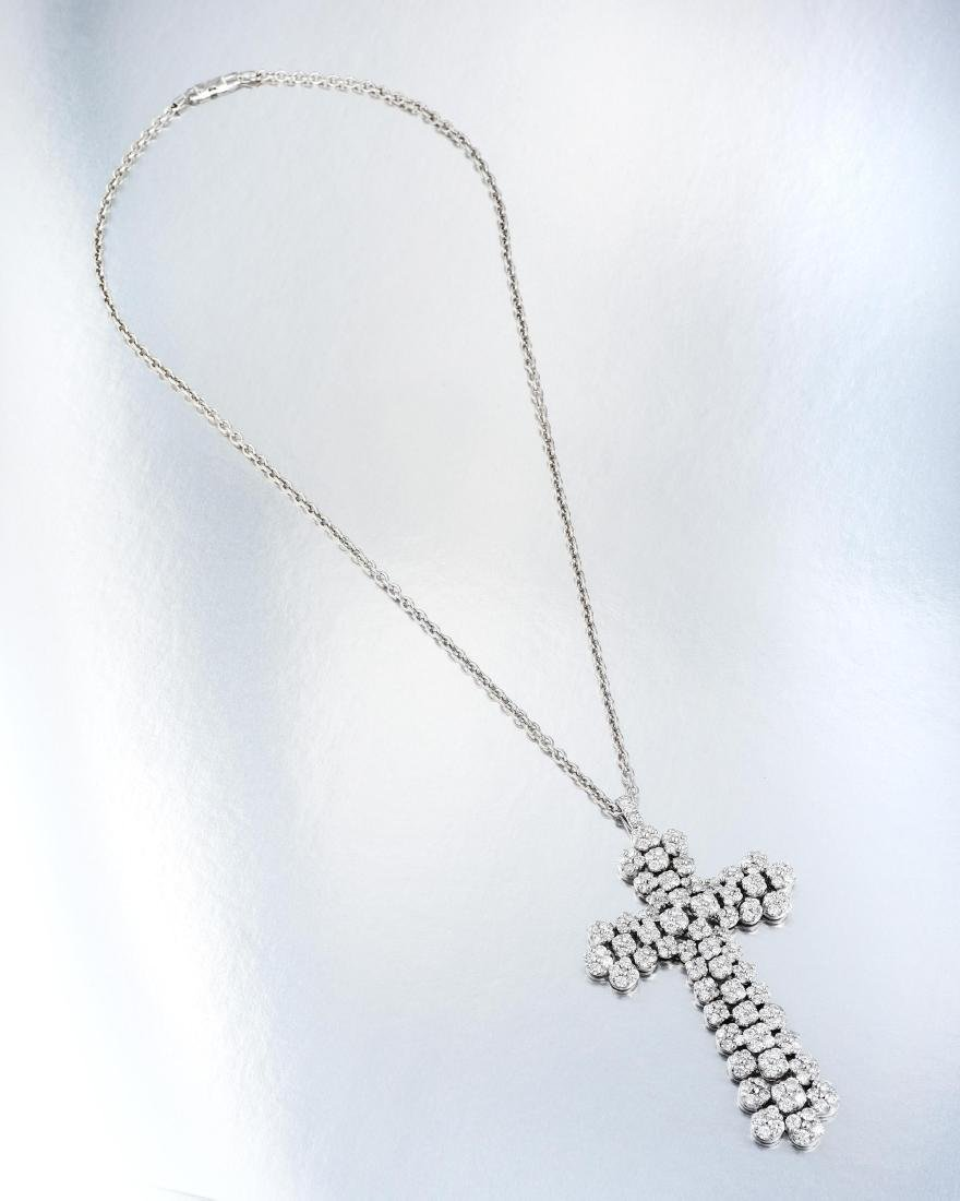 A Large Diamond Cross Pendant Necklace, Italian - 3