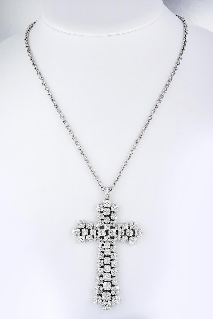 A Large Diamond Cross Pendant Necklace, Italian - 4