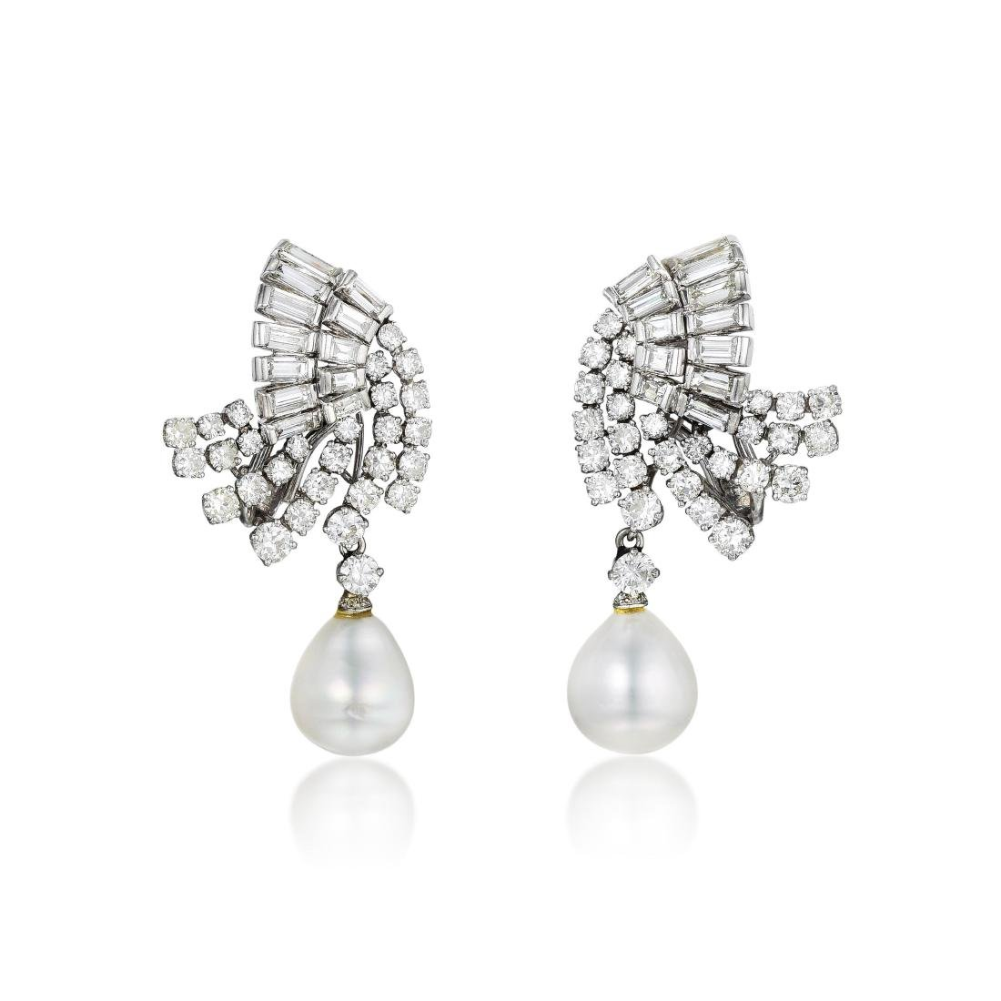 Ruser Diamond and Pearl Drop Earrings
