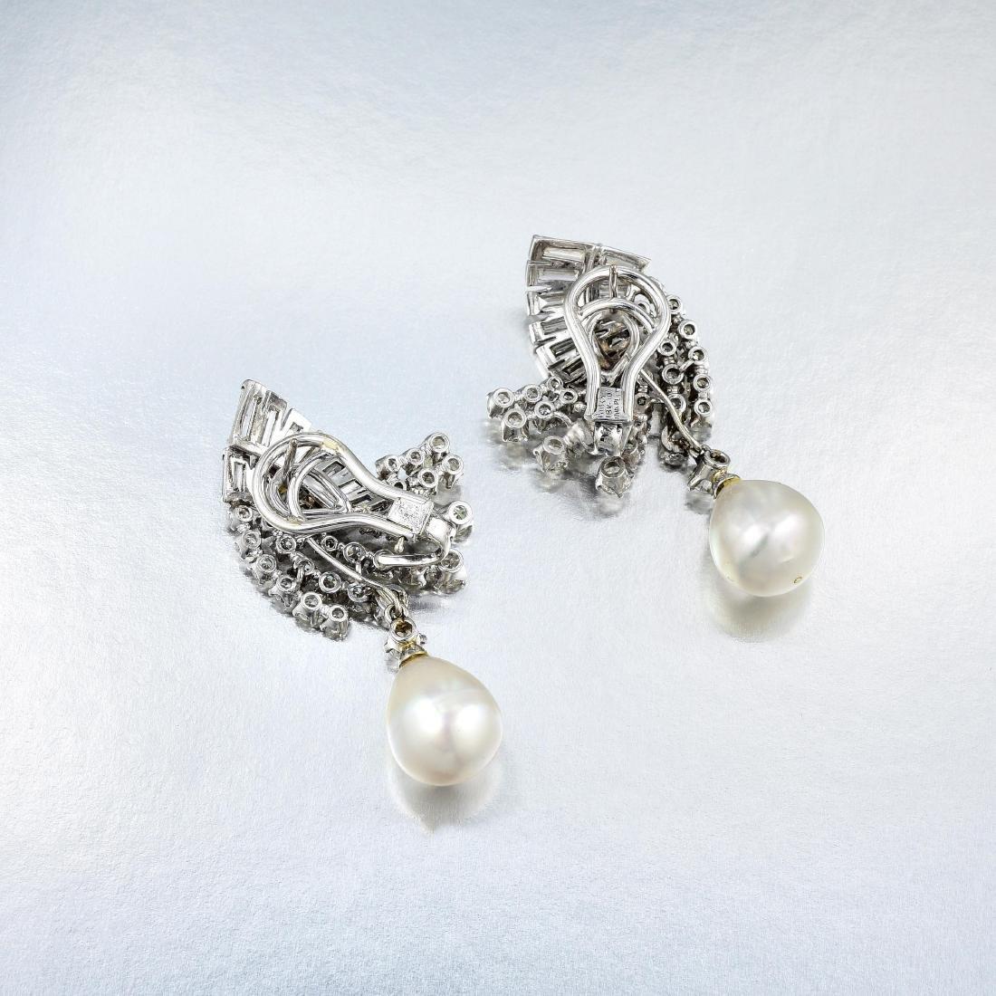 Ruser Diamond and Pearl Drop Earrings - 2