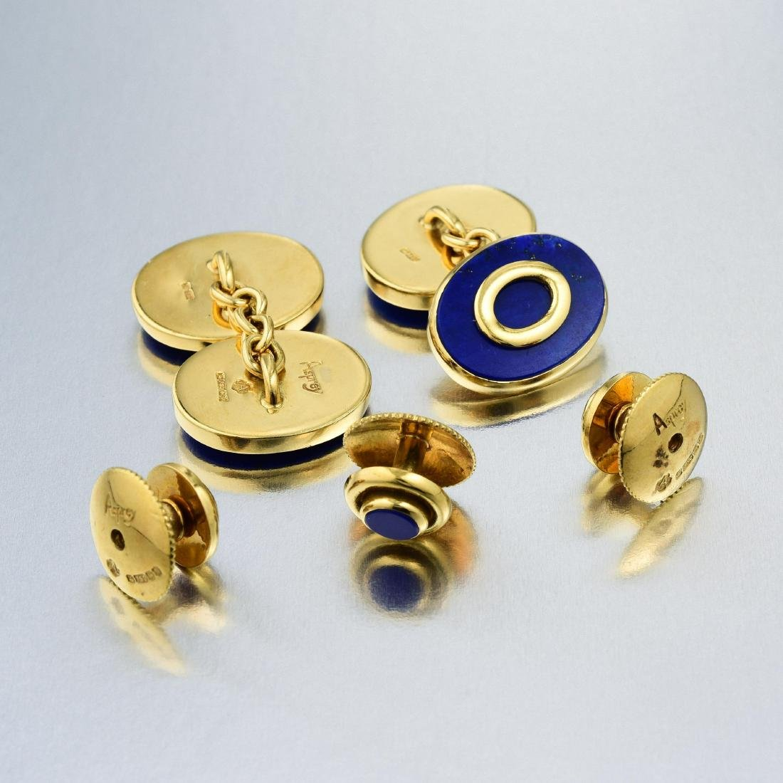 Asprey London Lapis Lazuli Cufflink and Stud Set - 2