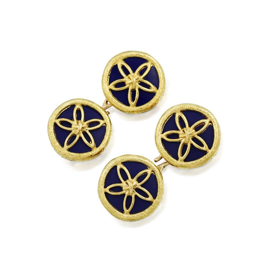 Schlumberger Tiffany & Co. Sand Dollar Enamel Cufflinks