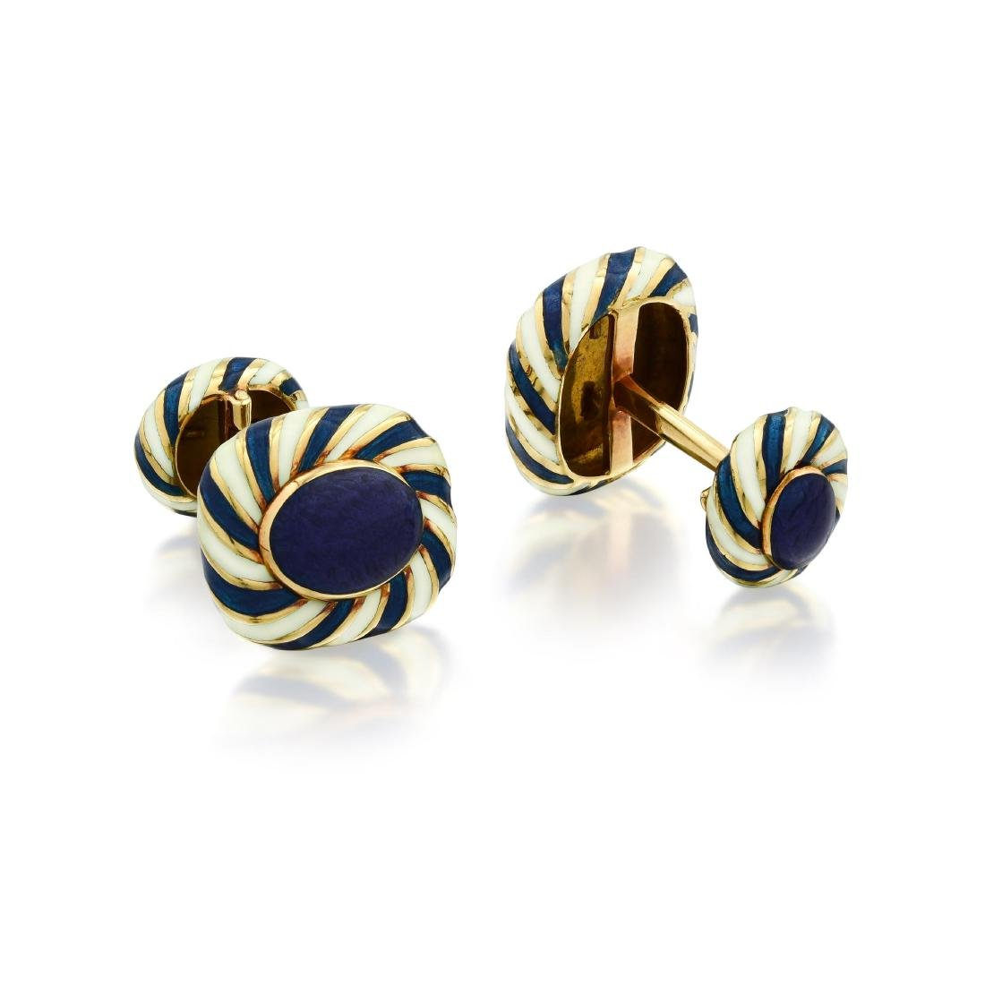 David Webb Enamel Cufflinks