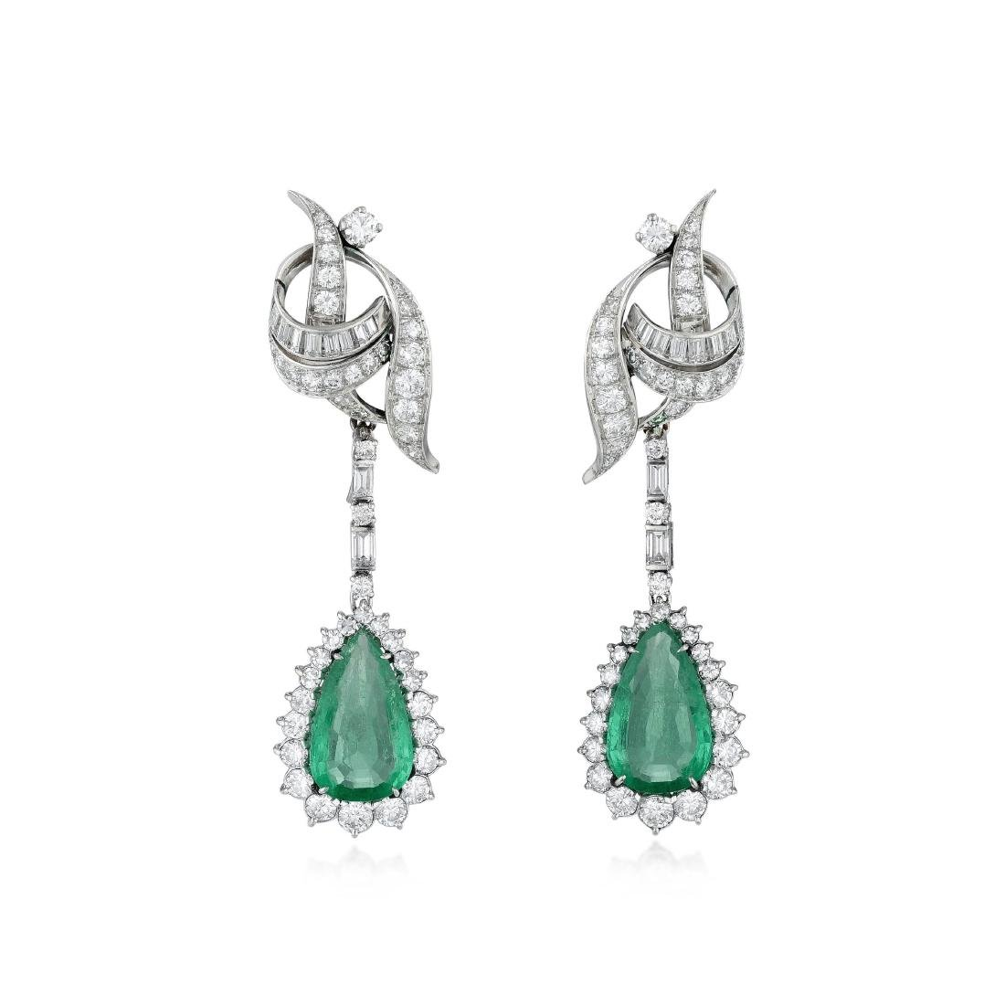 A Pair of Diamond and Emerald Drop Platinum Earclips