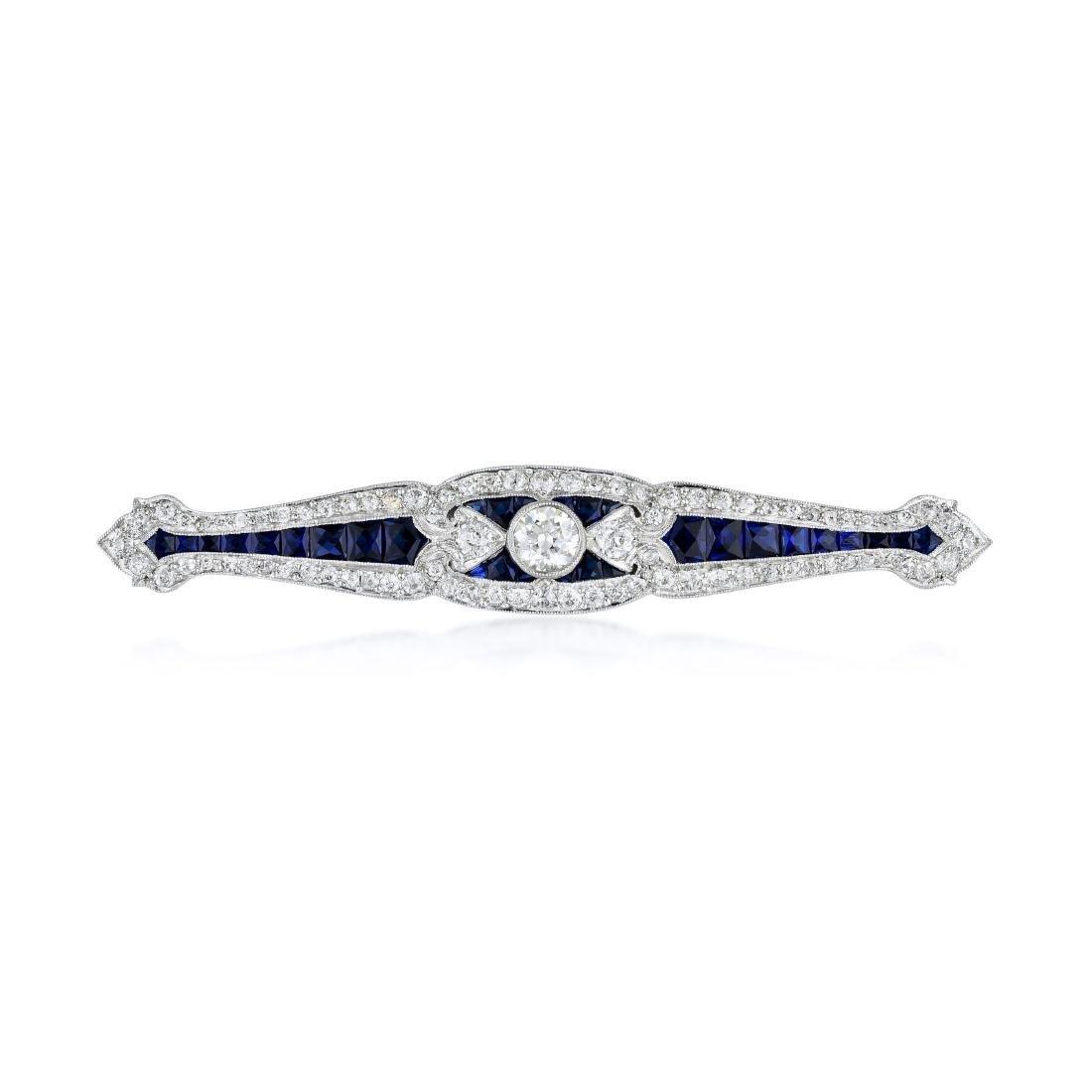 Art Deco Platinum Diamond and Synthetic Sapphire Pin