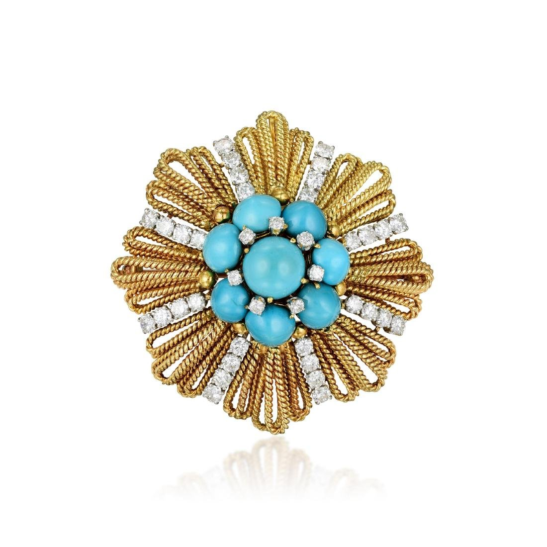 David Webb Turquoise and Diamond Pendant\Brooch
