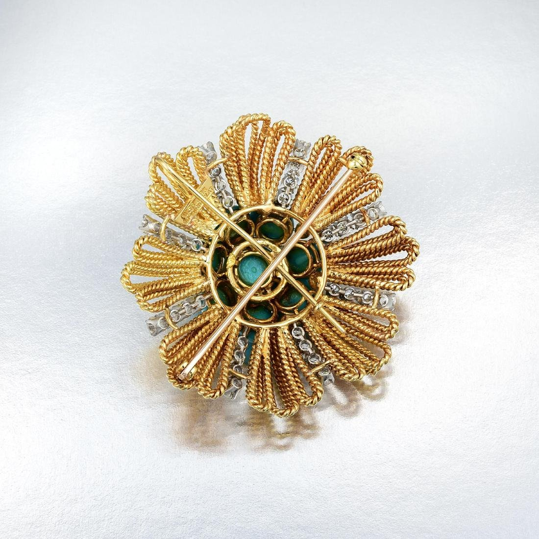 David Webb Turquoise and Diamond Pendant\Brooch - 2