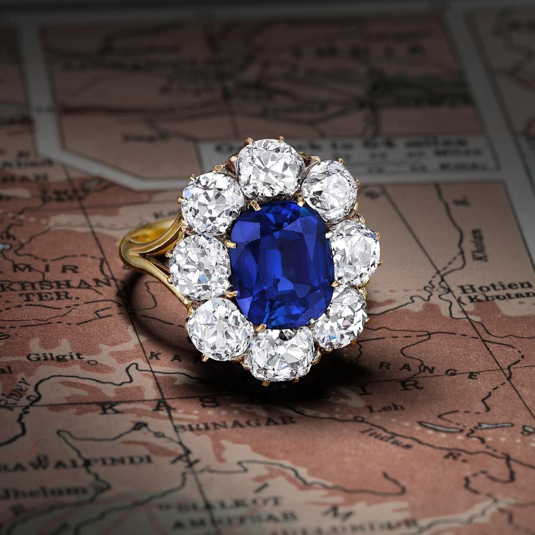 Victorian 4.30-Carat Kashmir Sapphire and Diamond Ring