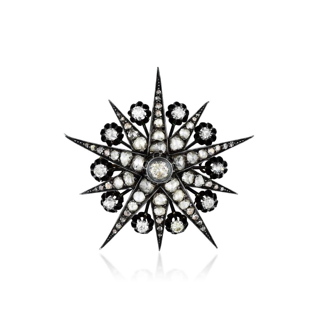 Victorian Silver-Topped 14K Gold Diamond Starburst