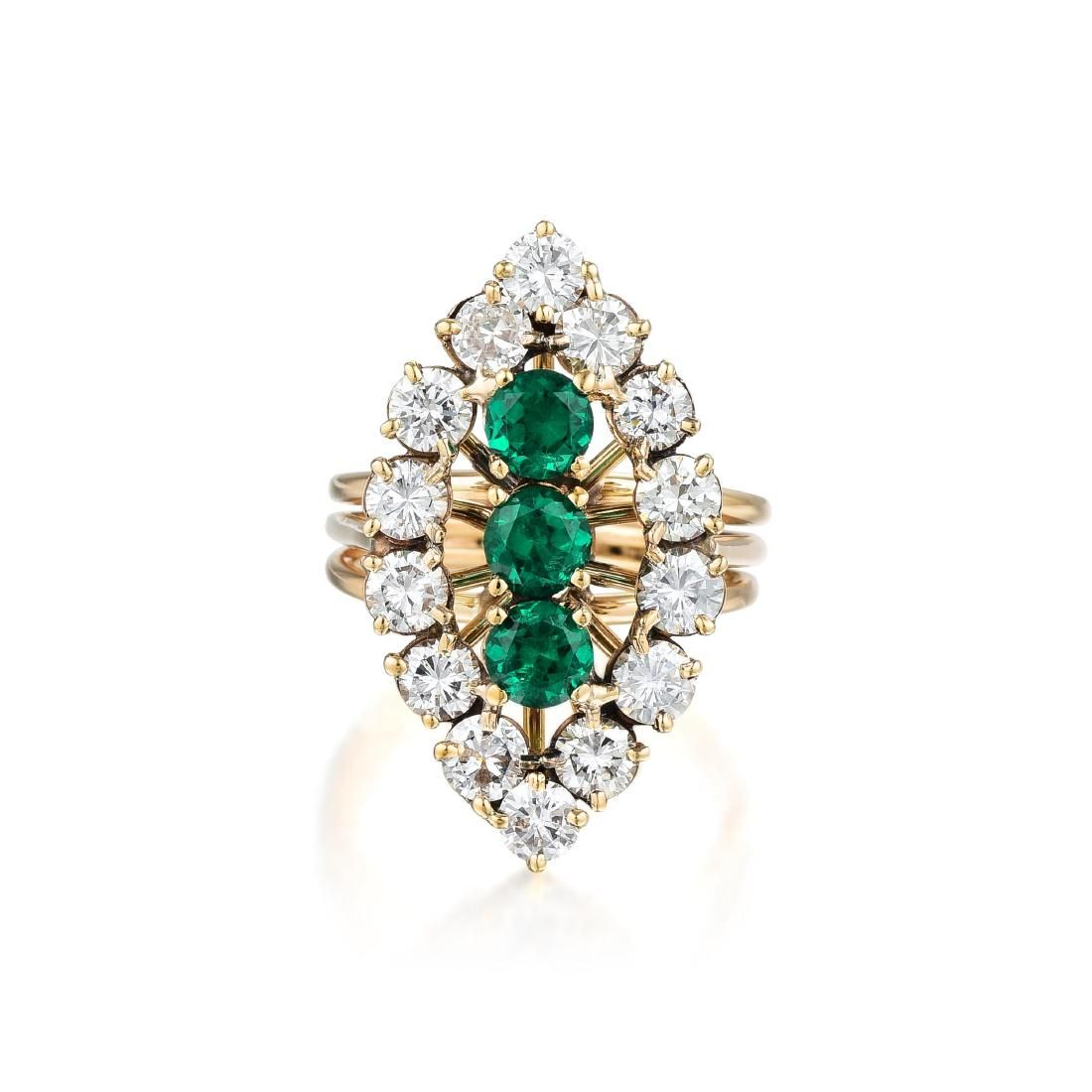 A 14K Gold Synthetic Emerald and Diamond Ring