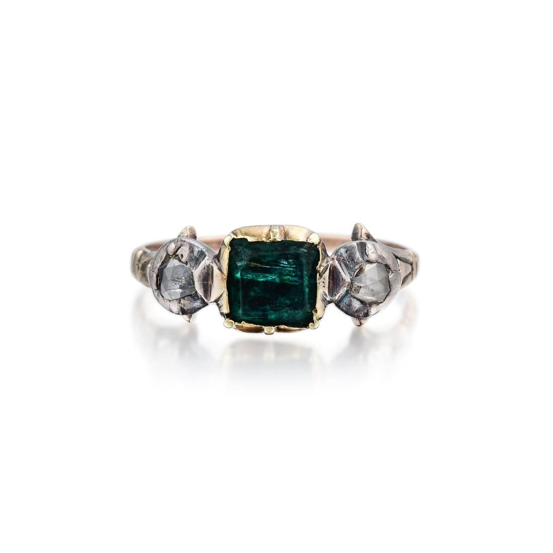 Georgian 14K Gold and Silver Emerald and Diamond Ring