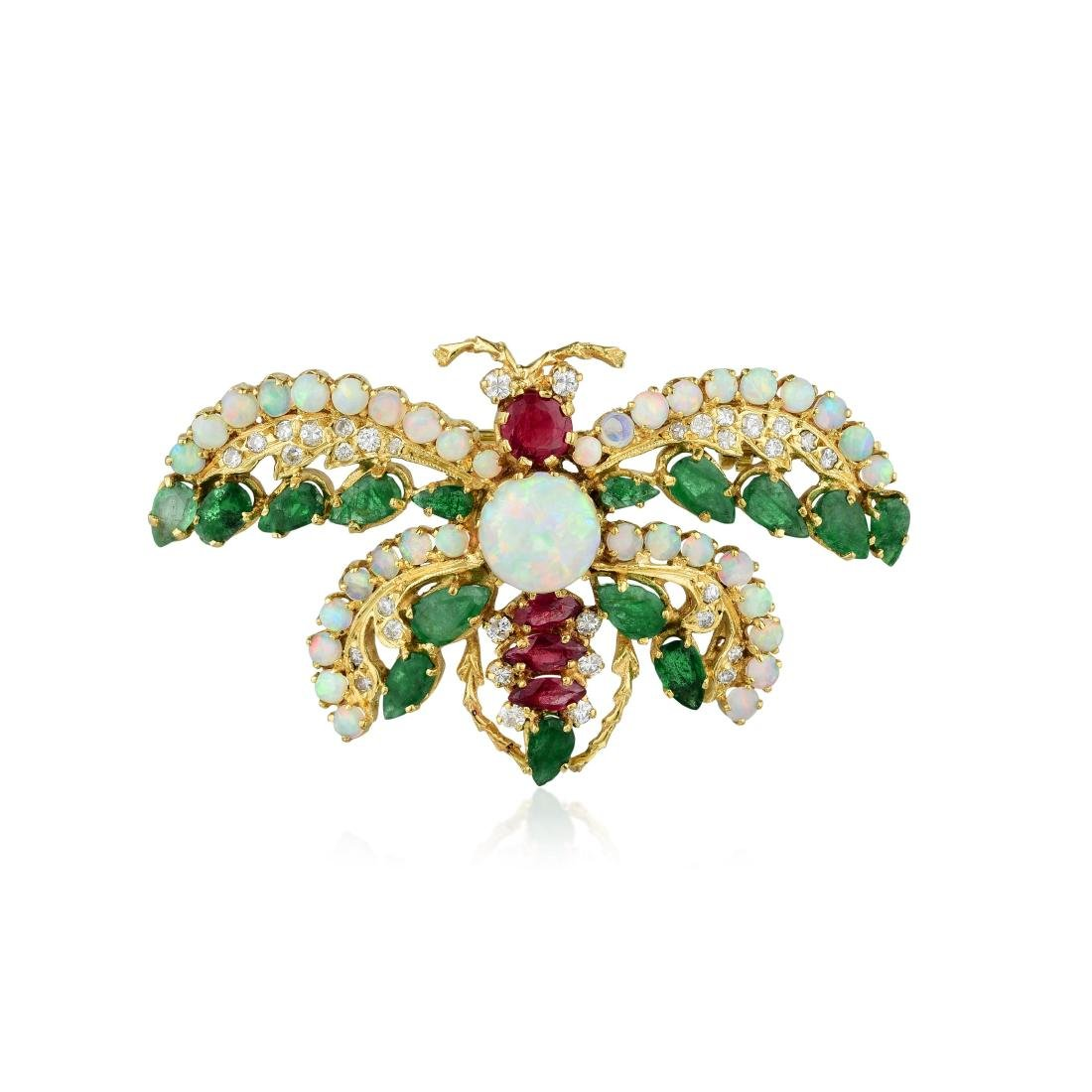 An 18K Gold Opal Ruby Emerald and Diamond Brooch