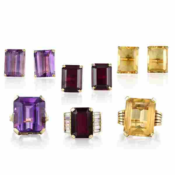 A Group of 14K Gold Colored Gemstone Jewelry