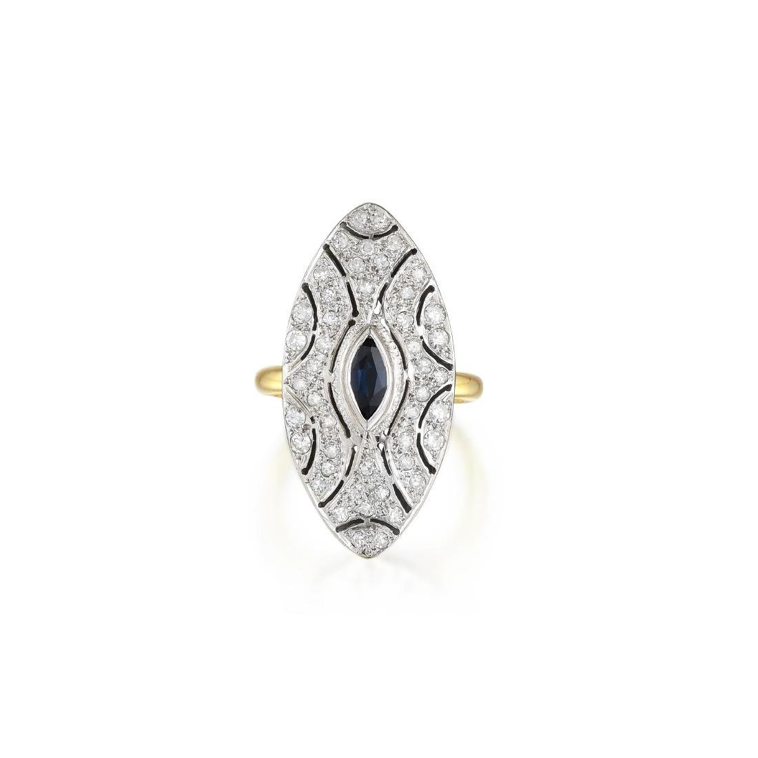 A 14K Gold Sapphire and Diamond Ring