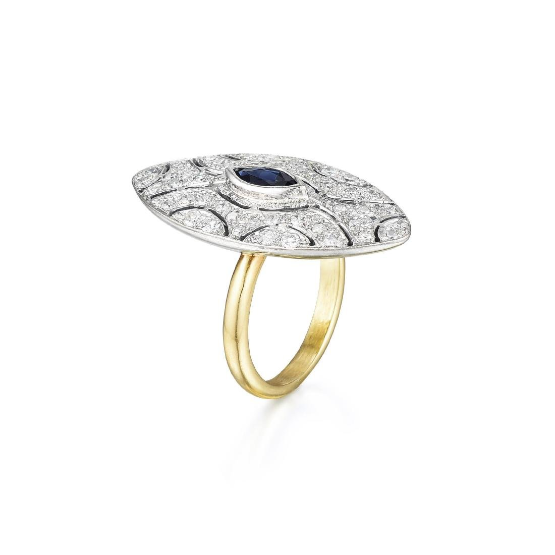 A 14K Gold Sapphire and Diamond Ring - 2
