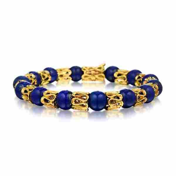 An 18K Gold Lapis Lazuli Bracelet