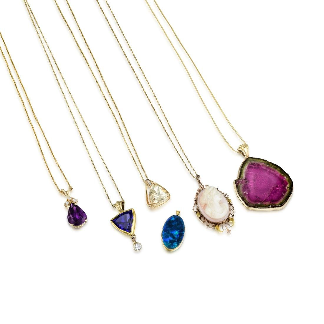 A Group of 14K Gold Gemstone Jewelry