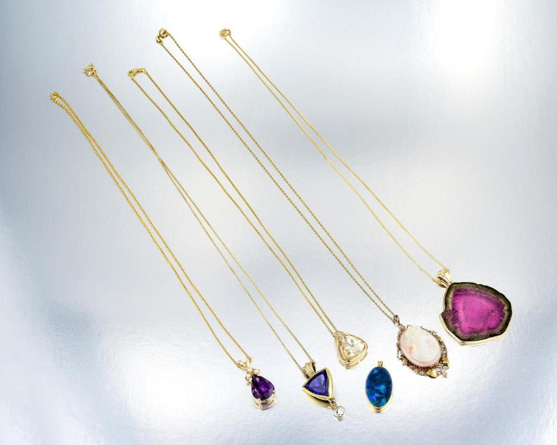 A Group of 14K Gold Gemstone Jewelry - 2