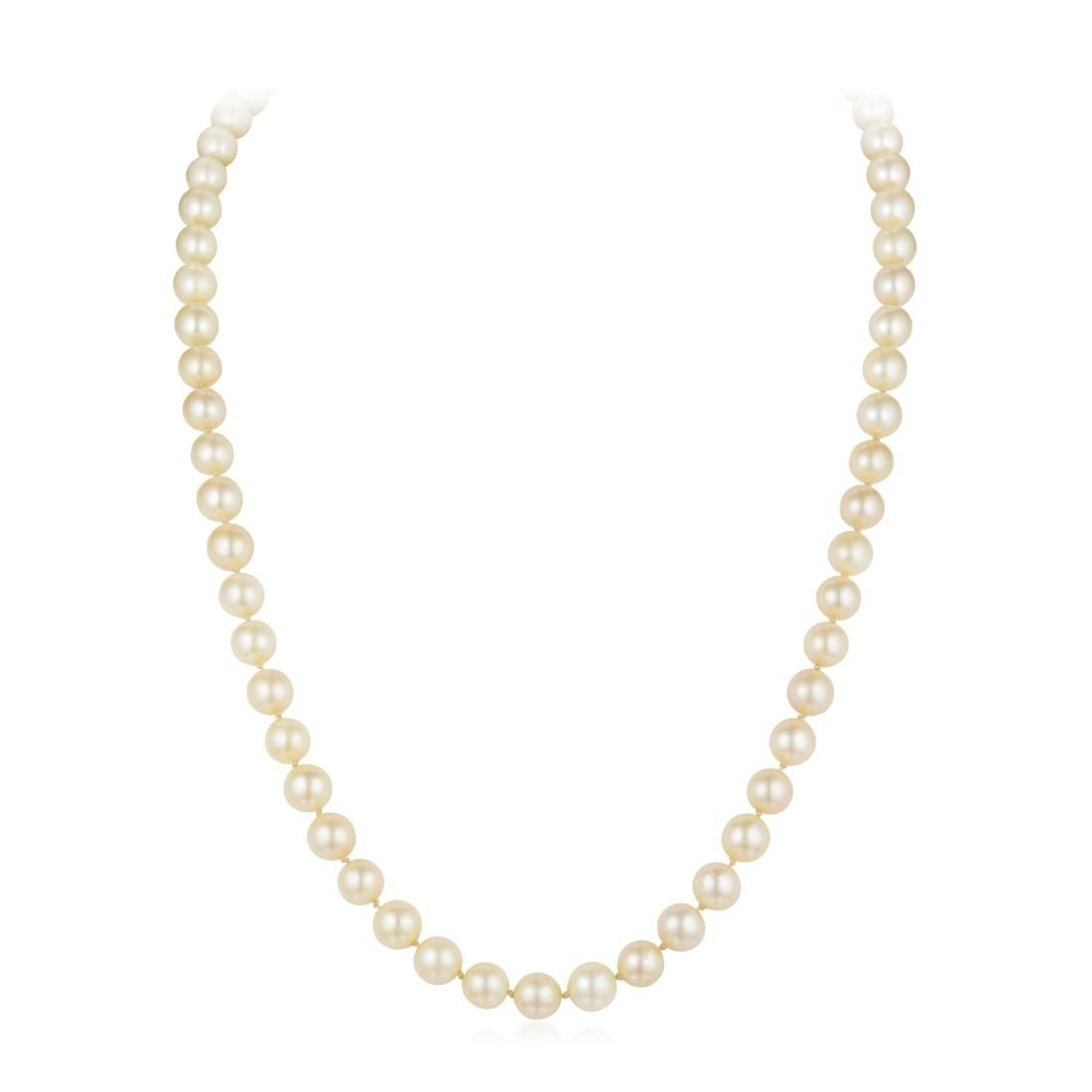 A Cultured Pearl Necklace with a 14K Gold Sapphire