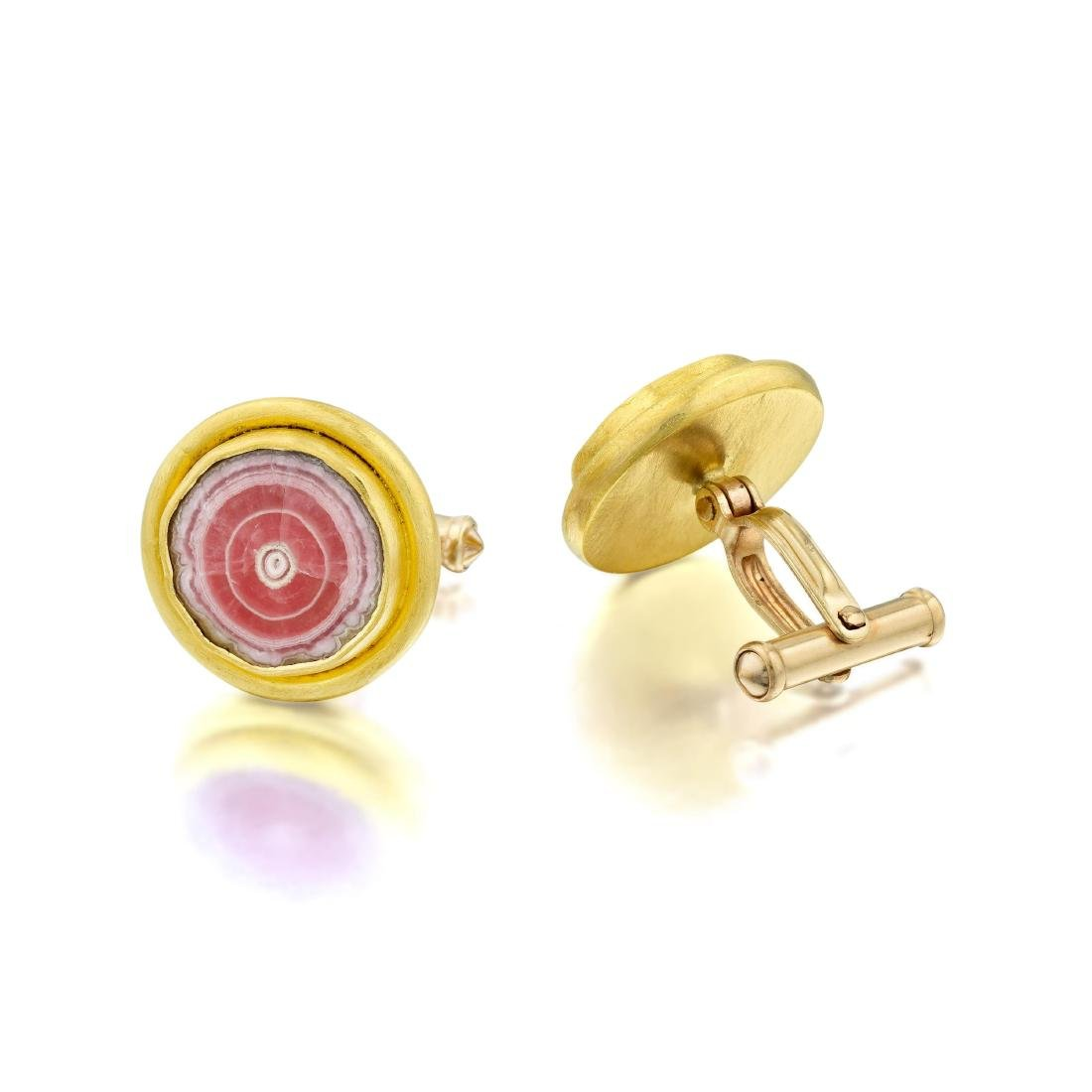 A Pair of 22K Gold Rhodochrosite Cufflinks