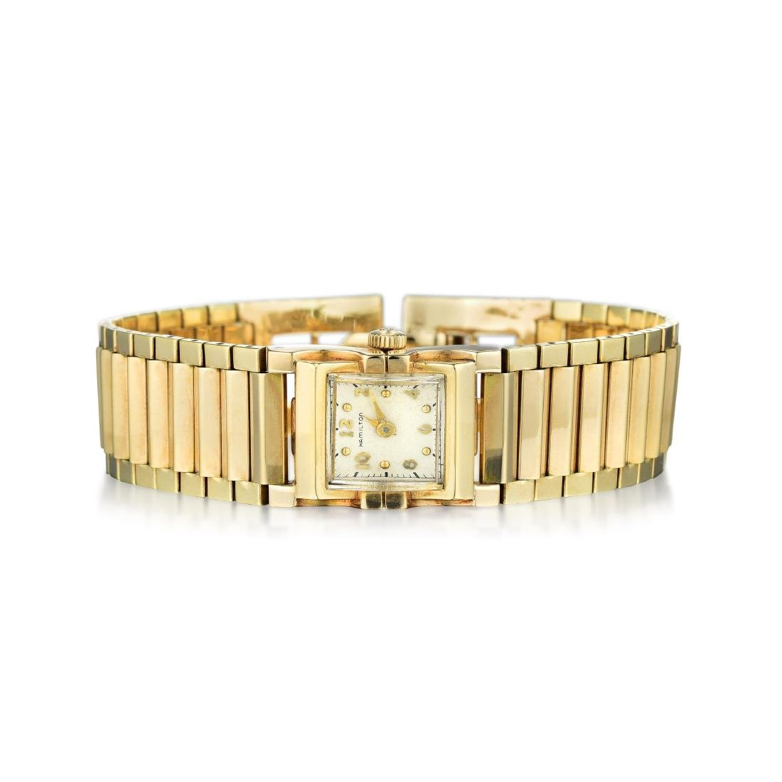 A 14K Gold Ladies Hamilton Watch