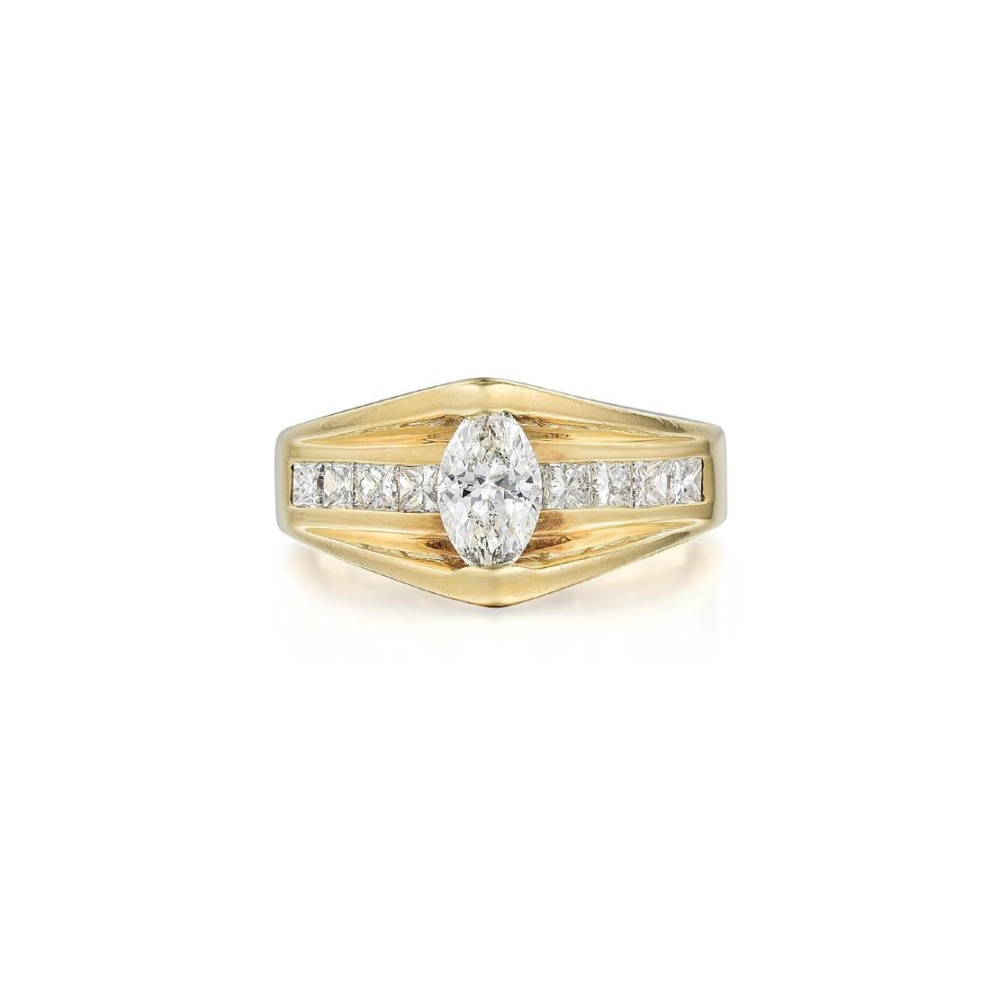 A 14K Gold Marquise Diamond Ring