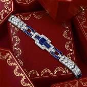 Cartier Art Deco Platinum Sapphire and Diamond Bracelet