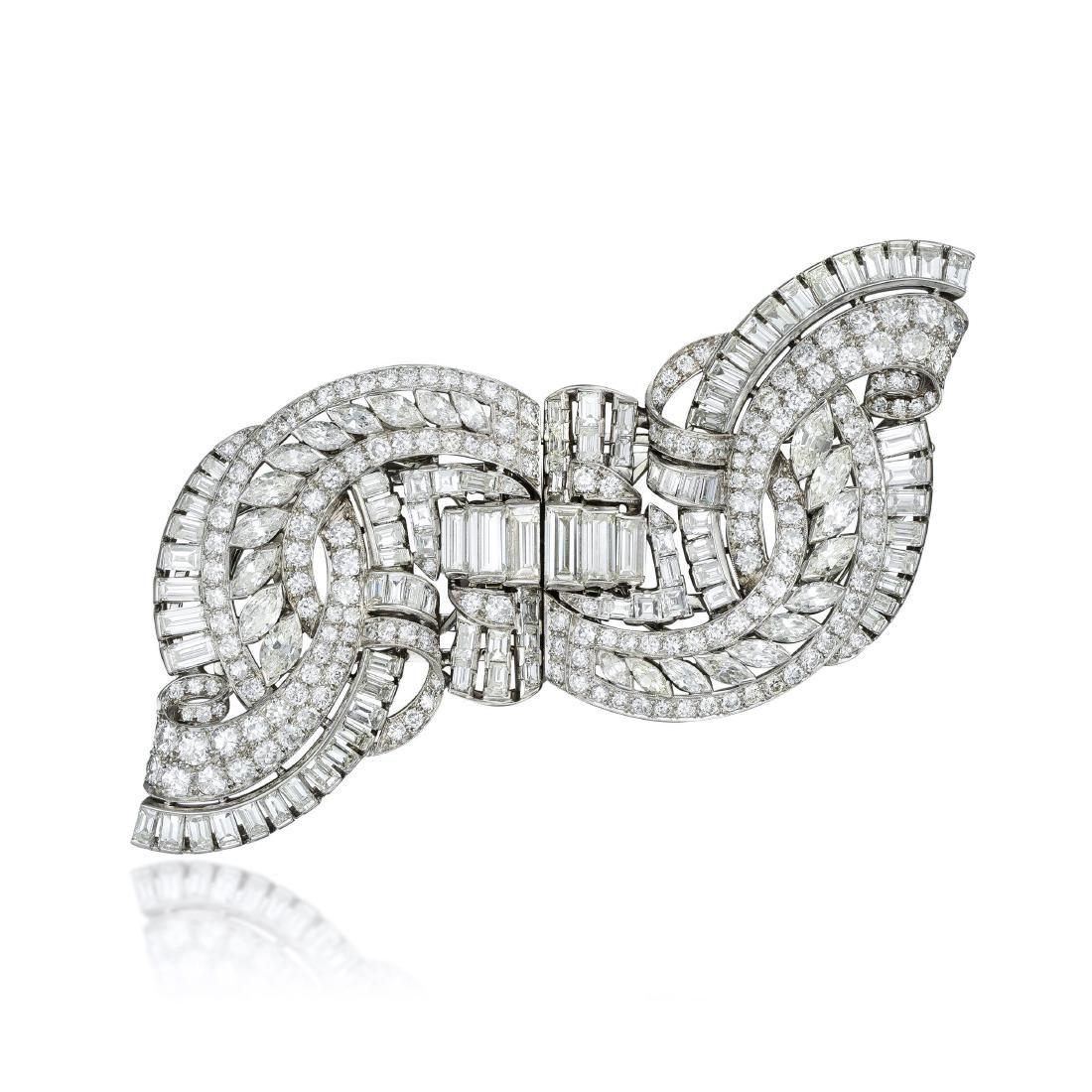 Art Deco Platinum Diamond Double Clips
