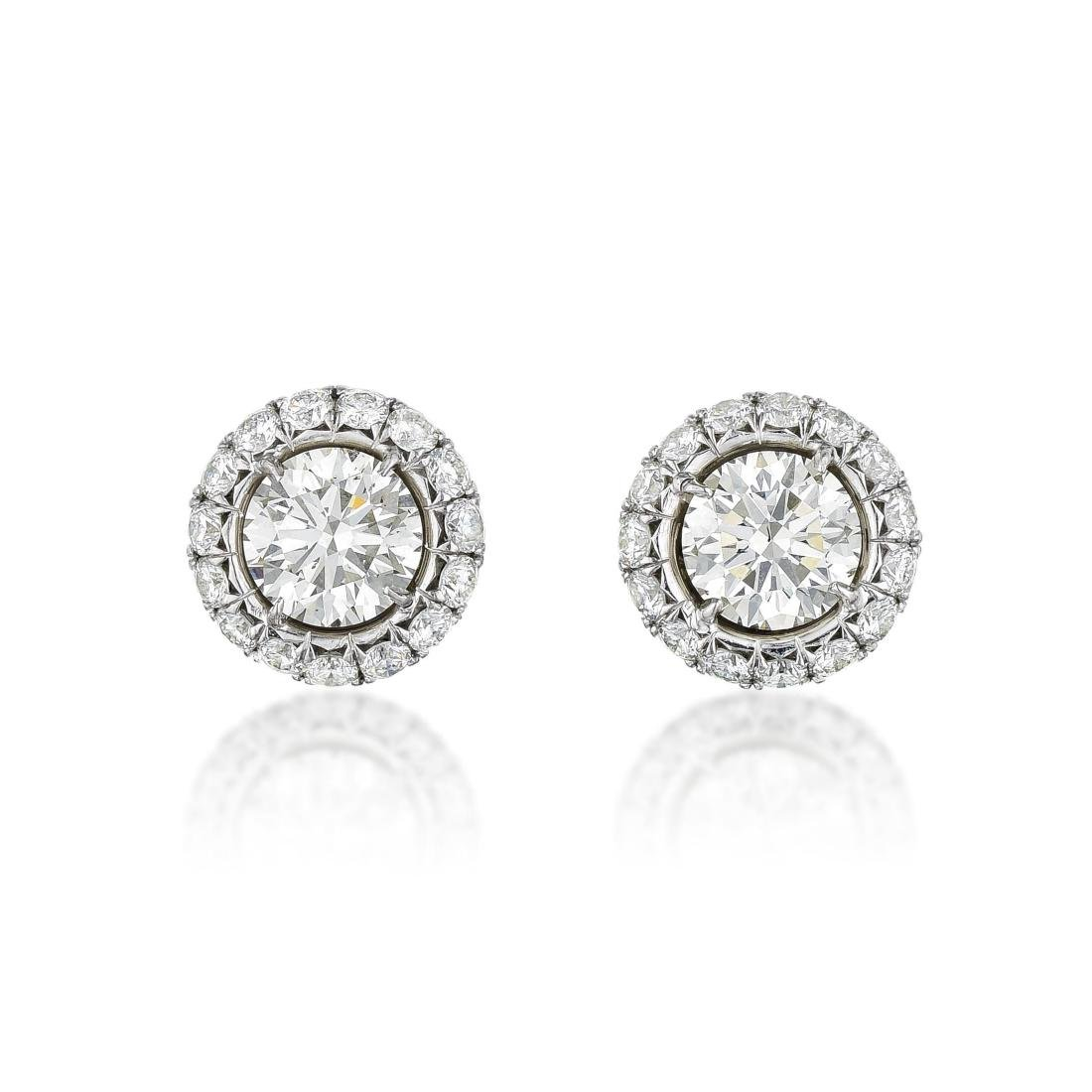 A Pair of Platinum Diamond Stud Earrings