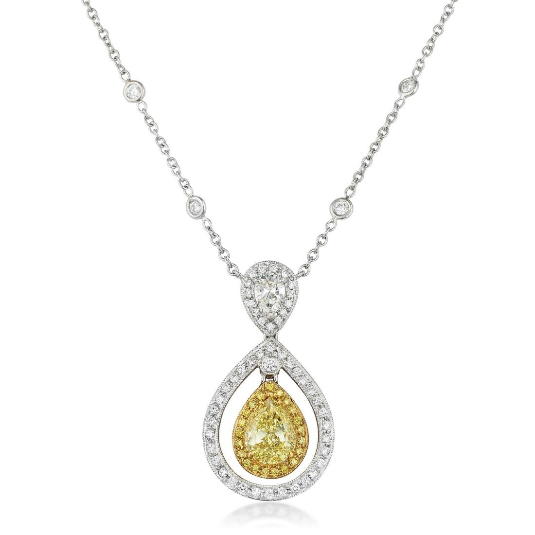 A Fancy Yellow Diamond and Diamond Pendant Necklace