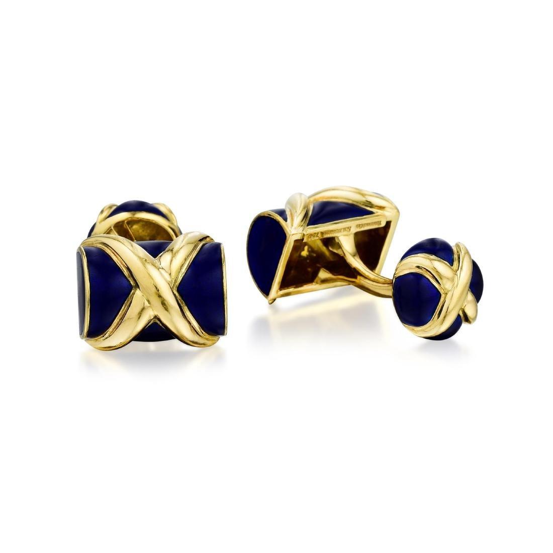 Schlumberger Tiffany & Co. Enamel Gold Cufflinks