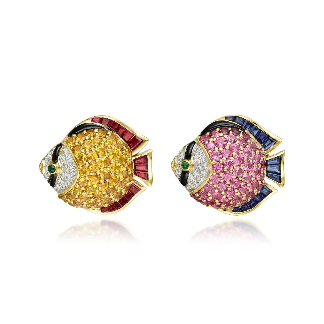 A Pair of 18K Gold Sapphire Ruby Diamond and Emerald