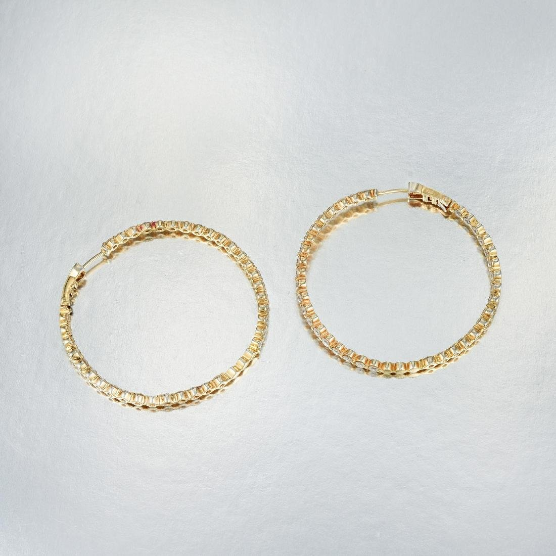 A Pair of Diamond Hoop Earrings - 2