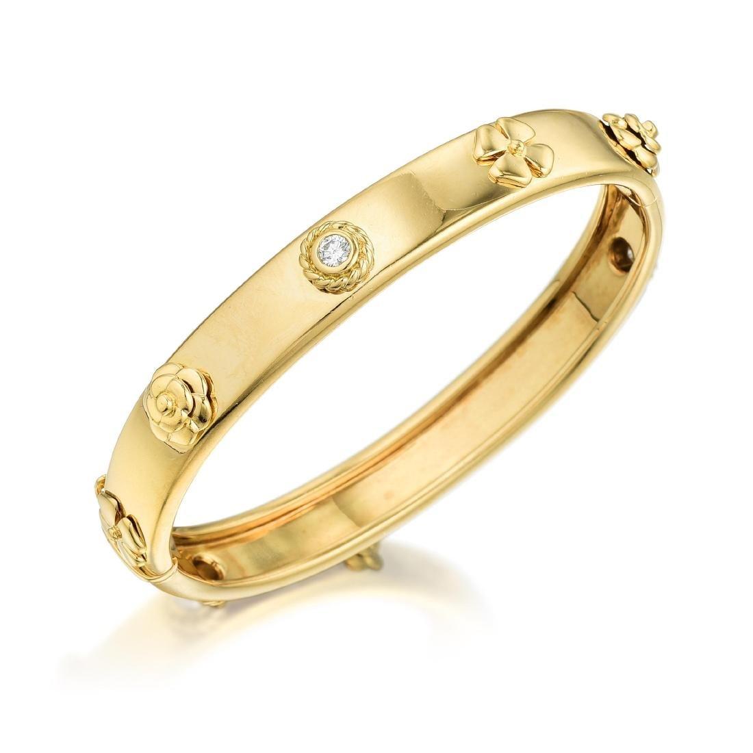 """Chanel """"Three Symbols"""" Diamond Bangle"""