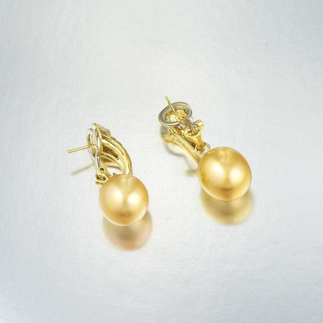 A Pair of Cultured Pearl and Diamond Earrings - 2