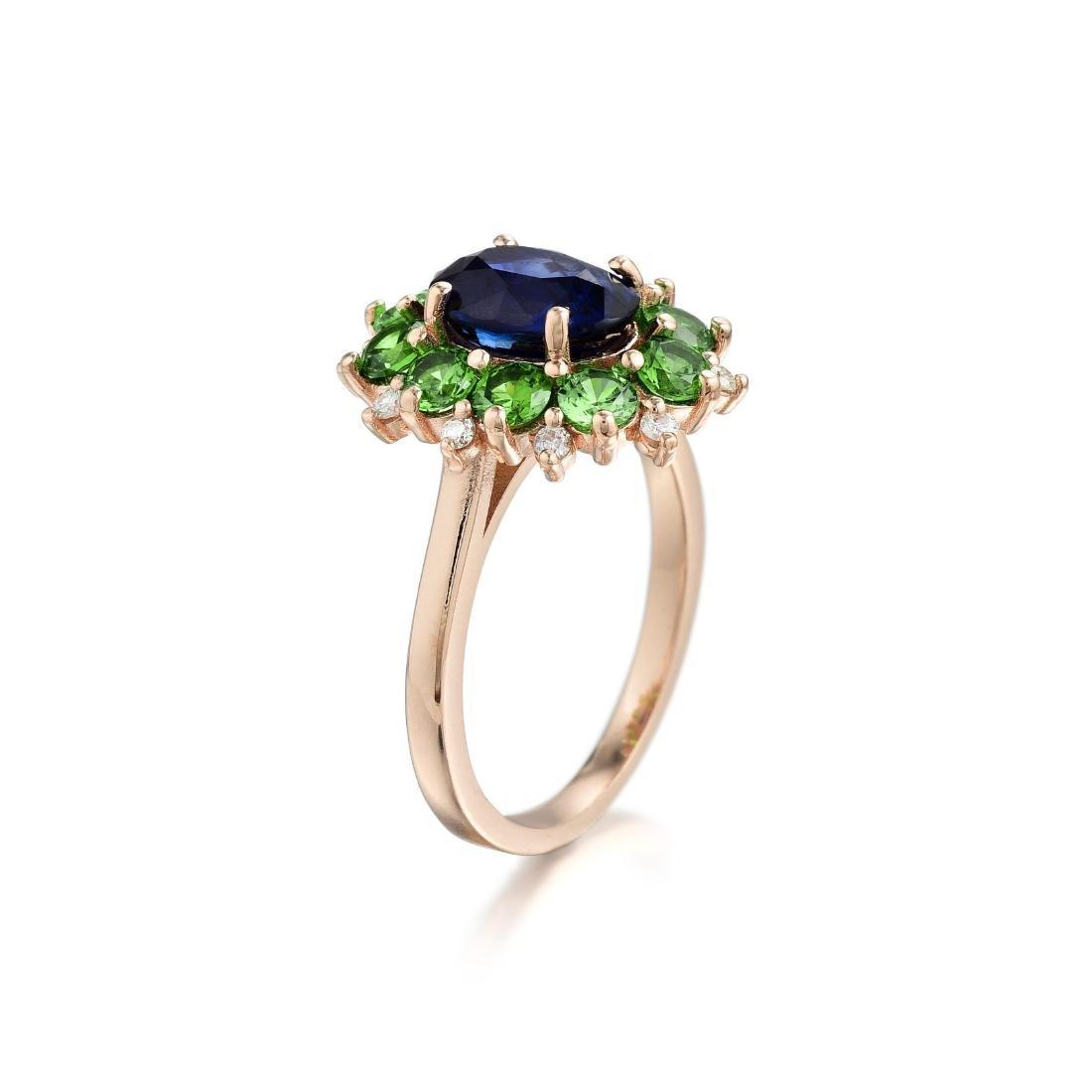 A Sapphire Demantoid Garnet and Diamond Ring - 2