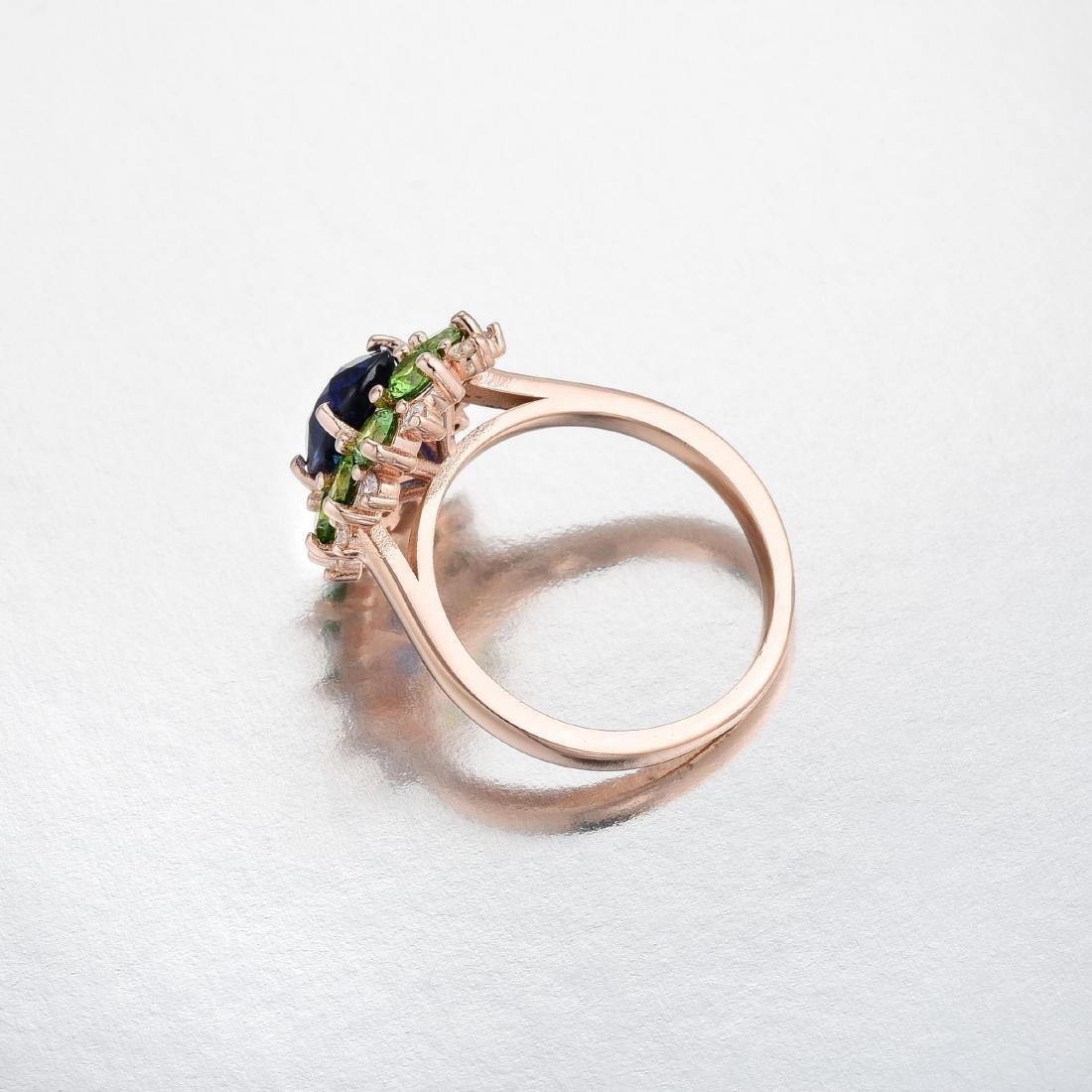 A Sapphire Demantoid Garnet and Diamond Ring - 3