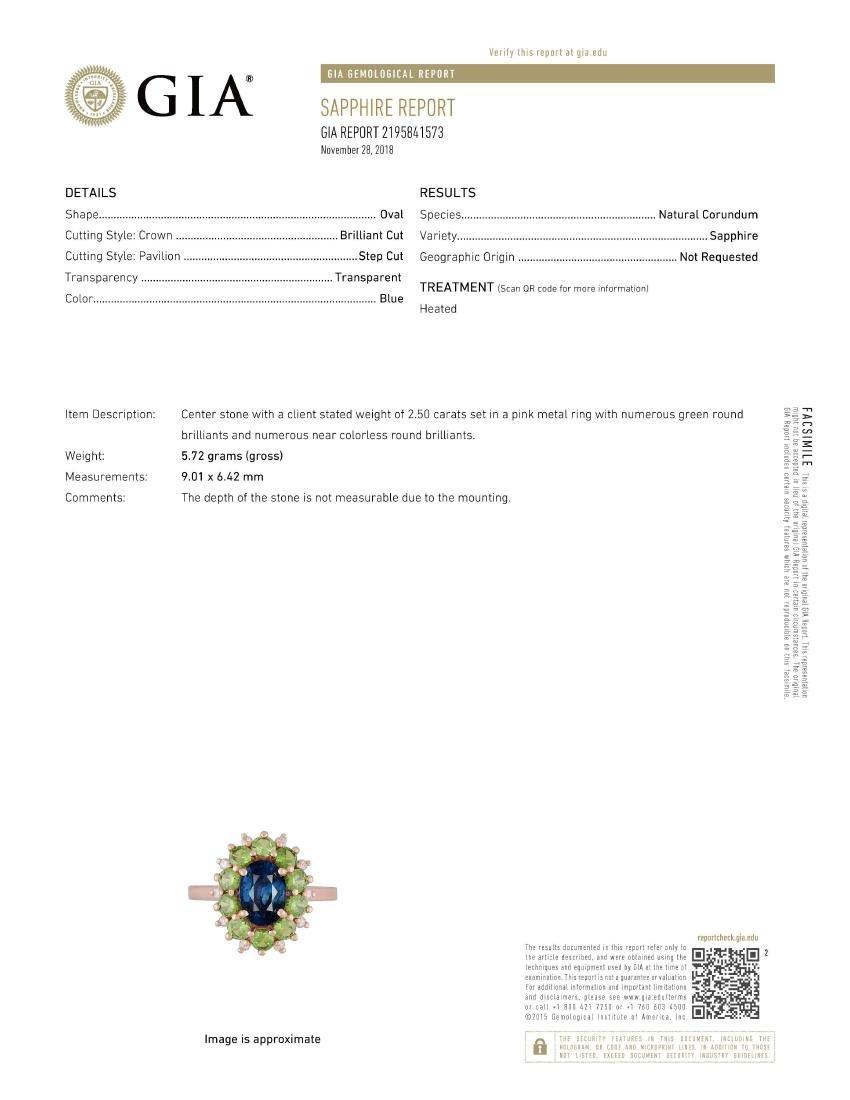 A Sapphire Demantoid Garnet and Diamond Ring - 4