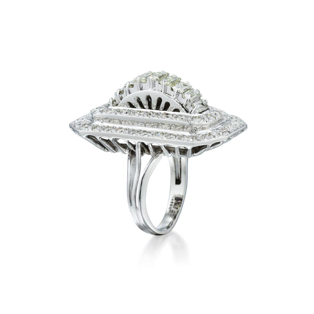 A Platinum Diamond Cocktail Ring - 2