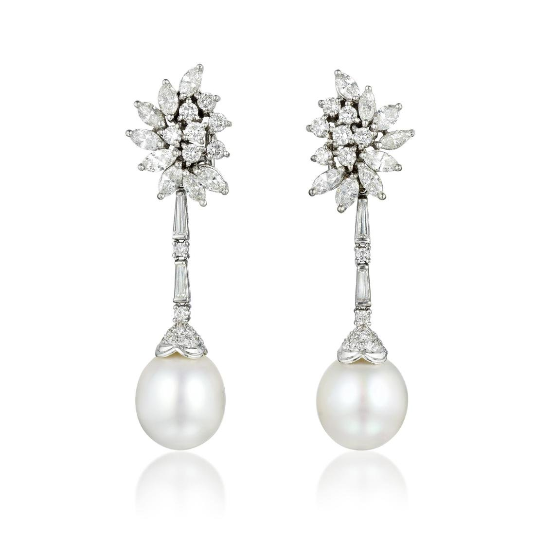 A Pair of Diamond and Pearl Drop Day/Night Earrings