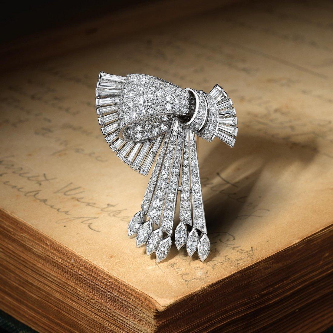 Tiffany & Co. Art Deco Platinum Diamond Brooch