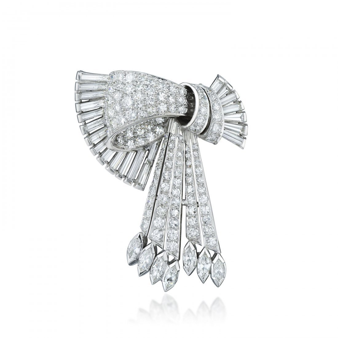 Tiffany & Co. Art Deco Platinum Diamond Brooch - 2