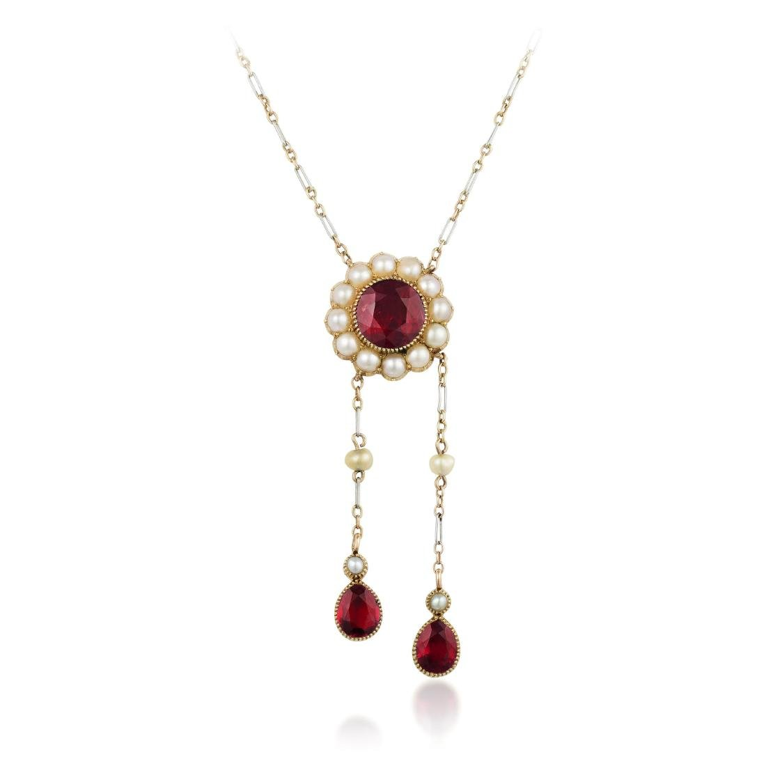 Antique Ruby and Pearl Necklace